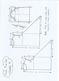 Esquema de modelagem de Túnica Plus Size tamanho 46.