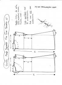 Esquema de modelagem de vestido com manga japonesa p-lus size tamanho 62.