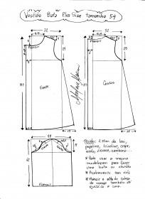 Esquema de modelagem de vestido tipo bata plus size tamanho 54.