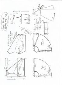 Esquema de modelagem de vestido vintage envelope tamanho 50.