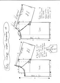 Esquema de modelagem de bata raglan tamanho PP.
