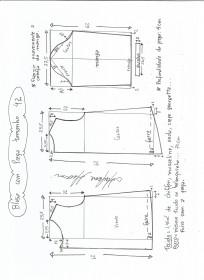 Esquema de modelagem de blusa com prega e manga tamanho 42.