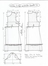 Esquema de modelagem de vestido vintage com babado tamanho 56.