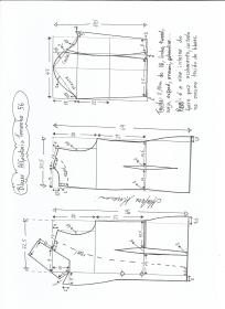 Esquema de modelagem de blazer alfaiataria gola de bico tamanho 56.
