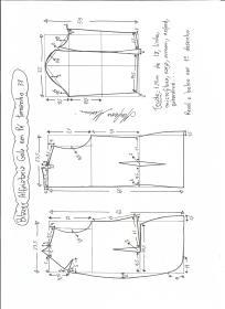 Esquema de modelagem de blazer alfaiataria com gola em pé tamanho 38.