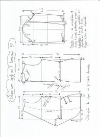 Esquema de modelagem de blazer com lapela tamanho 52.