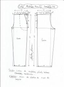 Esquema de modelagem de calça de moletom masculina tamanho 54.