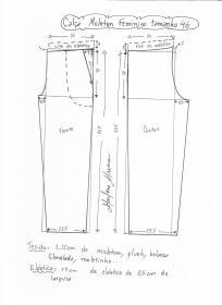 Esquema de modelagem de calça de moletom feminina tamanho 46.