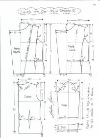 Esquema de modelagem de jaqueta com zíper e transpasse tamanho 36.