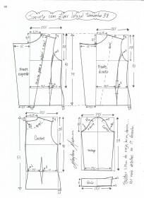 Esquema de modelagem de jaqueta com zíper e transpasse tamanho 38.