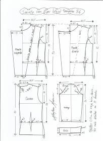 Esquema de modelagem de jaqueta com zíper e transpasse tamanho 56.