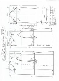 Esquema de modelagem de trench coat tamanho G.