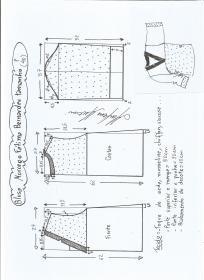 Esquema de modelagem de blusa morcego  Fátima Bernardes tamanho P.
