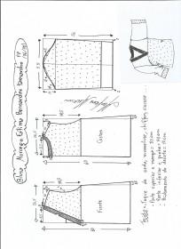 Esquema de modelagem de blusa morcego  Fátima Bernardes tamanho PP.