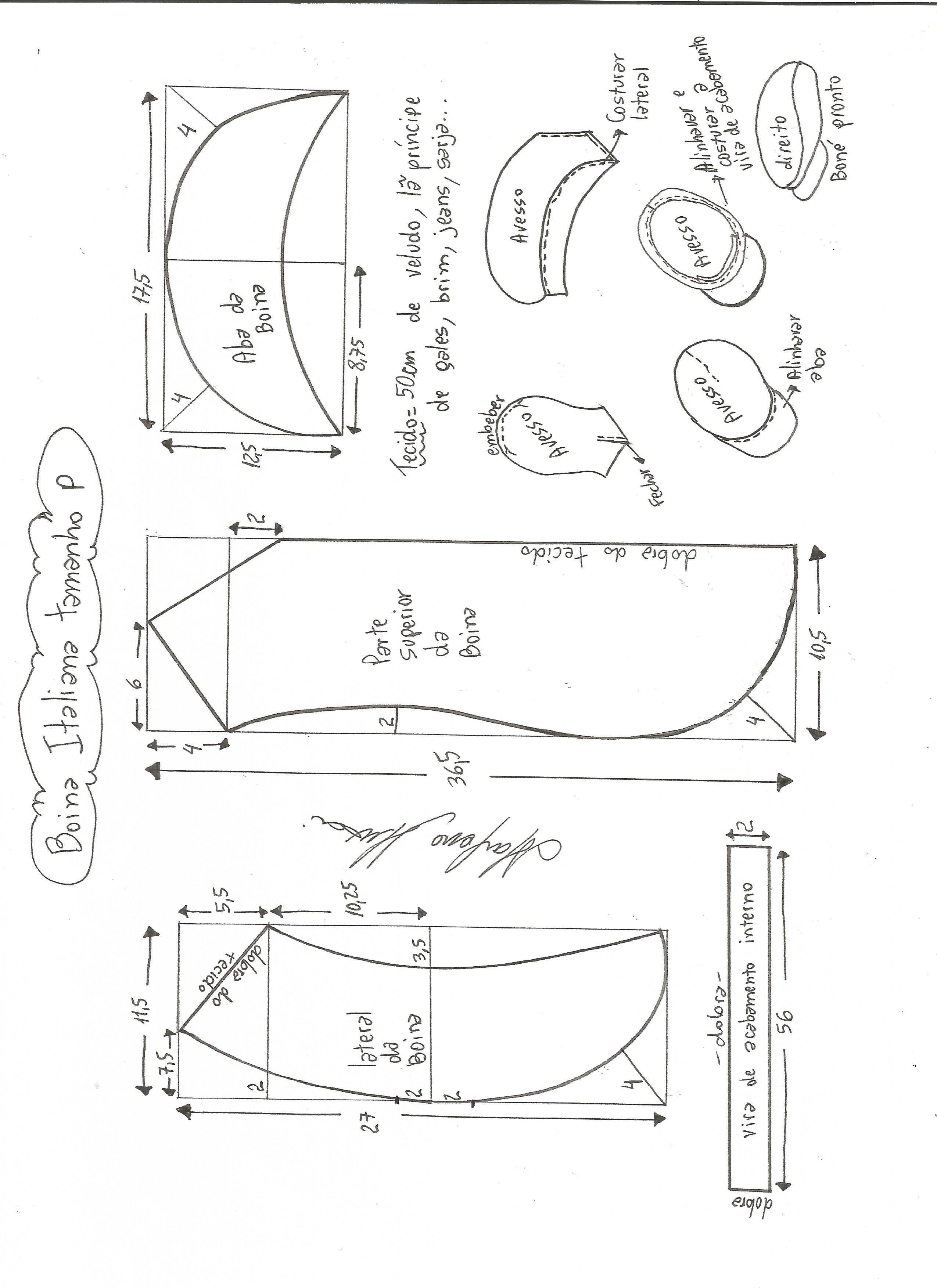 23f576b1a5102 Esquema de modelagem de boina italiana tamanho P.
