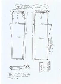 Esquema de modelagem de calça alfaiataria tamanho 46.