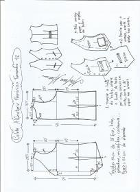 Esquema de modelagem de colete feminino alfaiataria tamanho 42.