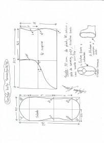 Esquema de modelagem de pantufas  slippers tamanho 35/36.