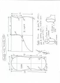 Esquema de modelagem de pantufas  slippers tamanho 39.40.