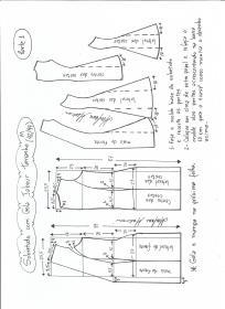 Esquema de modelagem de Sobretudo com gola jabour tamanho M. 1ª Parte.