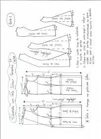Esquema de modelagem de Sobretudo com gola jabour tamanho PP. 1ª Parte.