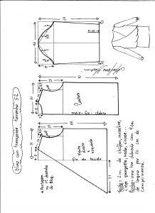 Esquema de modelagem de blusa transpassada tamanho 52.