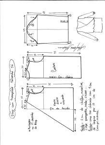 Esquema de modelagem de blusa transpassada tamanho 56.