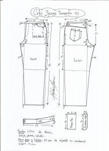 Esquema de modelagem de calça jeans tradicional tamanho 40.