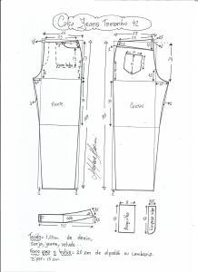Esquema de modelagem de calça jeans tradicional tamanho 42.
