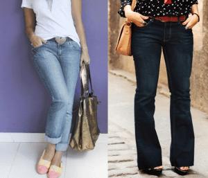 Calça jeans tradicional cós médio com esquema de modelagem do 36 ao 56.