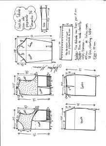 Esquema de modelagem de vestido tubinho com aba pregueada e detalhe em renda tamanho 36.
