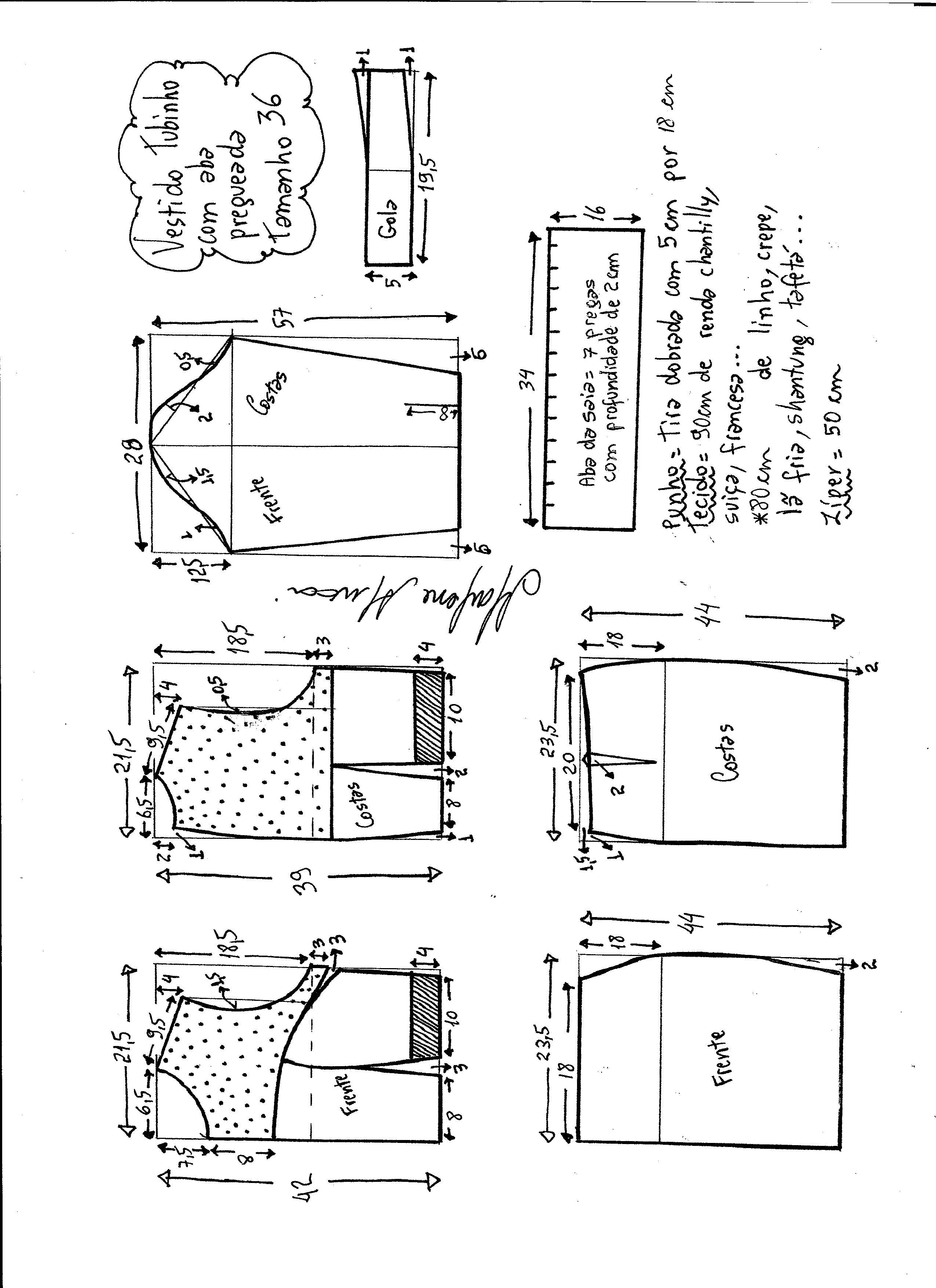 605077b52 Esquema de modelagem de vestido tubinho com aba pregueada e detalhe em renda  tamanho 36.