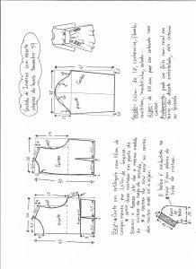Esquema de modelagem de vestido de inverno com recorte abaixo do busto tamanho 44.