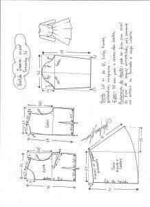 Esquema de modelagem de vestido de inverno com saia rodada tamanho 36.
