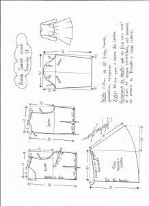 Esquema de modelagem de vestido de inverno com saia rodada tamanho 48.