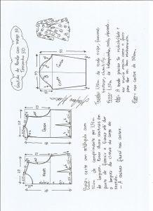 Esquema de modelagem de vestido meia estação de renda e manga 3/4 tamanho 50.