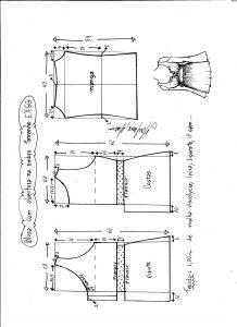 Esquema de modelagem de blusa com abertura no ombro para malha tamanho EXGG.