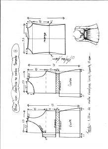 Esquema de modelagem de blusa com abertura no ombro para malha tamanho G.