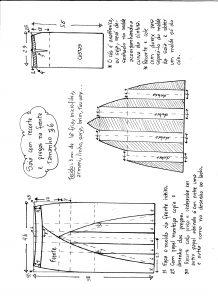 Esquema de modelagem de saia com recorte vertical e pregas tamanho 36.