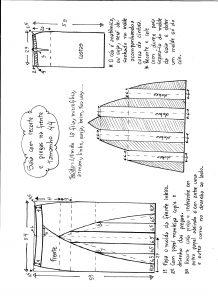 Esquema de modelagem de saia com recorte vertical e pregas tamanho 44.