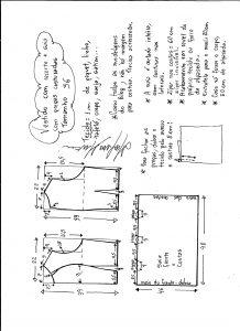 Esquema de modelagem de vestido com recorte e pregas costuradas tamanho 36.