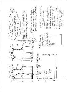 Esquema de modelagem de vestido com recorte e pregas costuradas tamanho 54.