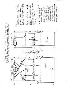 Esquema de modelagem de vestido tubinho com decote cruzado tamanho 46.