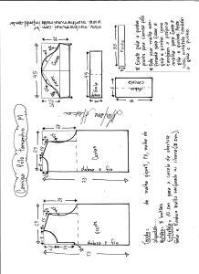 Esquema de modelagem de camisa pólo masculina tamanho M.