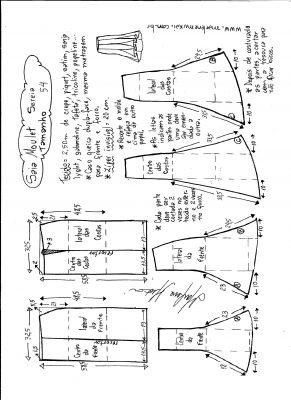 Esquema de modelagem de saia mulet sereia tamanho 54.