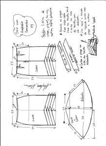 Esquema de modelagem de saia sino com pregas diagonais tamanho 44.