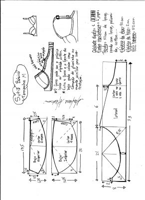 Esquema de modelagem de sutiã tamanho M.