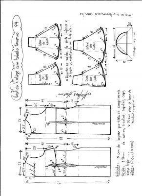 Esquema de modelagem de vestido vintage com babado na barra tamanho 44.