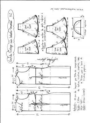 Esquema de modelagem de vestido vintage com babado na barra tamanho 52.