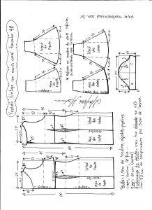 Esquema de modelagem de vestido víntage evasê com recorte tamanho 48.